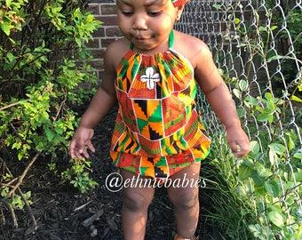Babygirl romper and hairbow/kente romper/kente/African babygirl clothes/baby set/ ankara romper/Newborn clothes/African clothing/Ankara