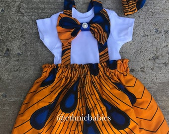 African skirt and bowtie onesie/ankara outfit/African babygirl clothes/baby set/ headwrap/Newborn clothes/African clothing/Ankara skirt/Kent