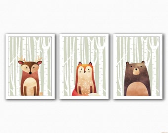 Woodland Animals Set 3 Prints - Half Animal - (Fox/Bear/Deer)
