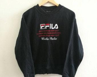 Sale!! Vintage 90s FILA Biella Italia Biglogo Spellout Jumper Sweatshirt Sz M