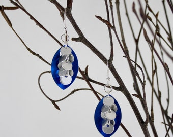 Circle Cluster Scale Maille Earrings