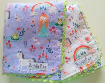 Doll Blanket - Doll Diapers - Baby Doll Diapers - Pink - Purple - Unicorns - Princess - Pretend Diapers - Bitty Baby Doll Diapers - Gift