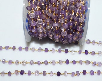 Beautiful Amethyst Rosary Beaded Chain - Amethyst Wire Wrapped Beaded Chain , 5 - 5.50 mm - RB5464