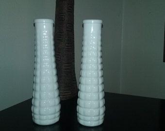 Set of 2 White Milk Glass  E. O. Brody Vases