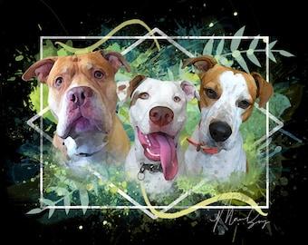 Triple Pet Watercolor Portrait