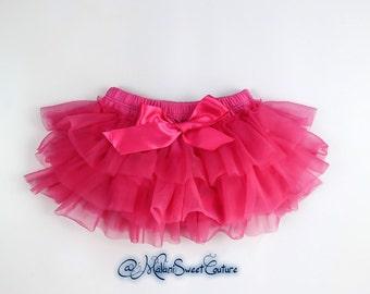 NEW Baby Girls Tutu Bloomers Ruffle Diaper Cover Hot Pink Tutu Skirt Bloomers Ruffles All Around,Newborn Infant Toddler Little Baby Girl