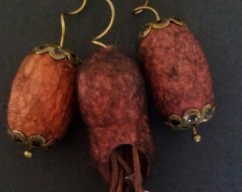 Red and orange silk cocoons necklace