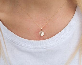 9ct Gold - Yin Yang necklace - cz necklace - zodiac necklace - tiny necklace - yin yang - gold medallion - medal - yin yang pendant -I35544