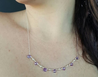 Delicious Amethyst Checkerboard Briolettes Lavished in Sterling Silver