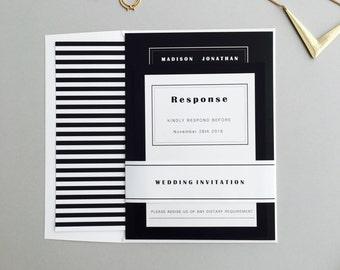 Black and White Modern Wedding Sample invitation Set, Solid  Black Wedding Invitation, Modern Classy Wedding Invitations, Wedding Invites