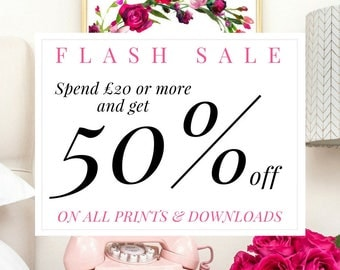 50% off, coupon code, discount, half price, flash sale, sale, bogoff, print sale, gift sale, home decor, wall art, prints, art prints, deal
