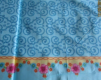 Floral border edge fabric 100% cotton