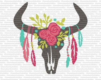 cow skull with feathers 5 layers/colors, svg, cut, file, bull, floral, flowers,  flourishes, vector, silhouette, clip art, design