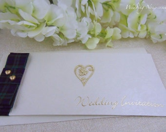 Tartan Gold Heart Cheque Book Wedding Invitation