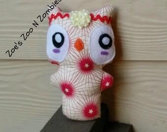 Handmade Owl Stuffie, Hippy Owl, Whimsical Cloth Doll. Washable Toy Doll