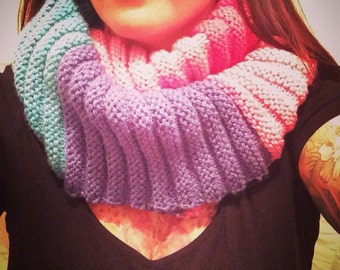 Hand-Made Knit Wrap Scarf - Multi-Colour - Purple/Teal/Pinks