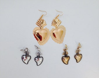 Earrings ex voto, Frida Mexican heart, sacred heart