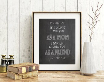Mom gift Chalk board sing print black and white print wall art print mom mum inspirational print poster mother day gift poster mom friend