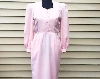 Bedford Fair Vintage 1980's Light Pink Long Sleeved Dress / Vintage 1980's Pink Sundress