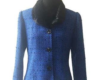 Leslie Fay Vintage 1980's Fur Collar Blue Blazer / Vintage Blue Blazer / 80's Blue Blazer / Fur Collar Blazers / Fur Collar Jackets