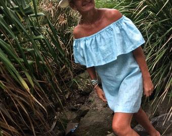 Gelato off the shoulder dress, 100% linen, colour baby blue