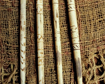 Bone hand carved tribal rune etching hair sticks, hair adornment