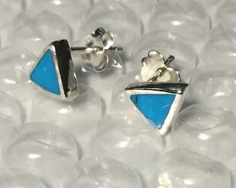 Blue Turquoise triangle studs/ Turquoise studs/ triangle studs/ sterling silver/studs/ Turquoise /earrings/protection /healing/luck