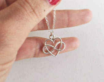 Maid of honor, necklace SILVER with love, Infinity gift, filigree jewelry in silver