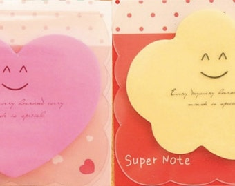 Cute kawaii kitsch post it sticky notes heart star cloud flowers house pack of 2