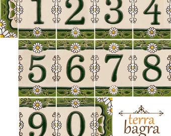 Handmade Ceramic House Number tiles DAISY - Large size