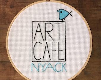 """Custom Store Logo - Hand Embroidery Hoop - Custom - 8"""" Hoop"""