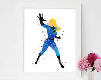 Fantastic Four Prints, Invisible Woman, Marvel Superhero Printables, marvel comics movies, superhero movies, Action movies, Marvel wall art