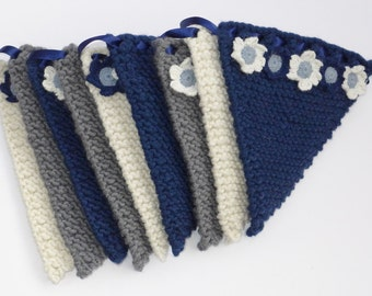 Knitted Bunting with flower decoration