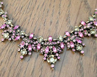 Hollycraft Pink and Yellow Choker Necklace