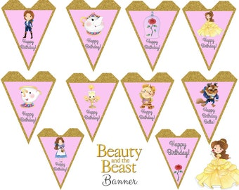 Beauty and the Beast Banner, Beauty and the Beast Birthday, Beauty and the Beast Party, Beauty and the Beast Birthday Party, Custom Banner