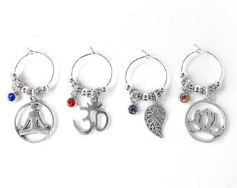 Yoga Wine Glass Charms - Set of 4 in Silver