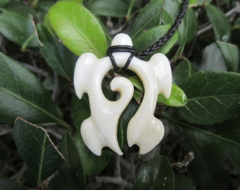 Hand Carved Bone Wave Turtle Unique Pendant & Braided Leather Cord Necklace Man or Woman