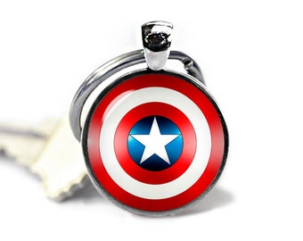 Captain America Shield  Key Ring Captain America Shield  Keyfob Captain America Shield Keychain Superheroes Fandom Jewelry