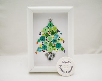 Christmas Tree Button Picture, A6 Framed Button Art