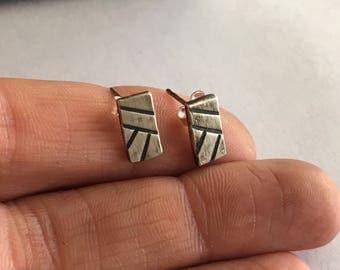 Geometric Linear Stud Earrings - Silver Bar Earrings - Geometric Studs - Bar Studs - Silver Studs - Minimal Studs