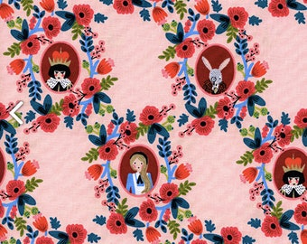 COTTON Cameos Rose, Wonderland Collection by Rifle Paper Co for Cotton and Steel, 100% Quilting Cotton Fabric 8014-02