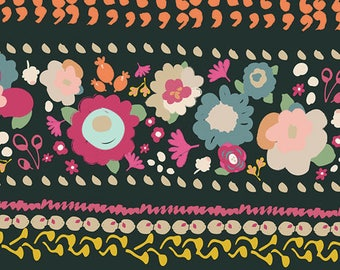 KNIT Fabric, Boho Quest Night, Art Gallery Knits, Cotton Spandex Knit, Jersey Knit Fabric, Funky Floral Knit Fabric, k-64202
