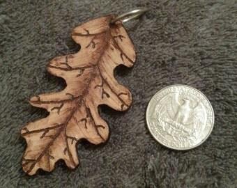 Handmade Real Leather Oak Leaf Keychain