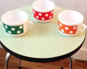 "3 vintage dots mugs ""Poissy"""