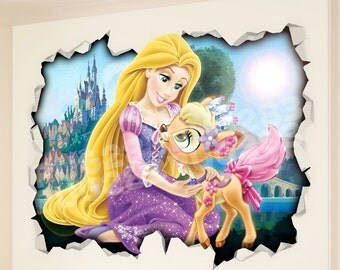 Disney Tangled Princess 3D Wall Vinyl Sticker Poster - Rapunzel Bed Game Room Mural