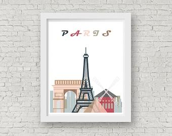 Paris Print,Paris skyline print,Paris City poster,Home decor,Scandinavian wall art,Paris minimal poster,Instant download,Digital art print