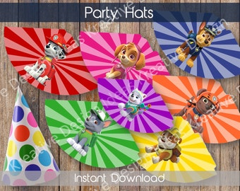 Paw Patrol Party Hats Paw Patrol Printable Party Hats Paw Patrol Printable Paw Patrol Decoration Paw Patrol Party Favors INSTANT DOWNLOAD