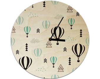 Hot Air Balloon Tribal Pattern Childrens Clock / Kids Clock