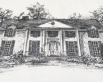 Custom Graphite/Pen & Ink Rendering of Your Private Home