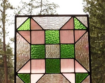 Pink and Green Stained Glass Quilt Block Suncatcher